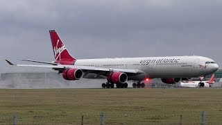 Virgin Atlantic Airbus A340-600s Landing at London Stansted Airport