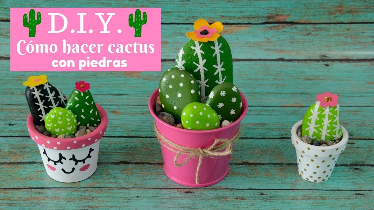 Cmo hacer cactus con piedras Itziland YouTube