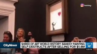 Banksy painting self-destructs after being sold at auction