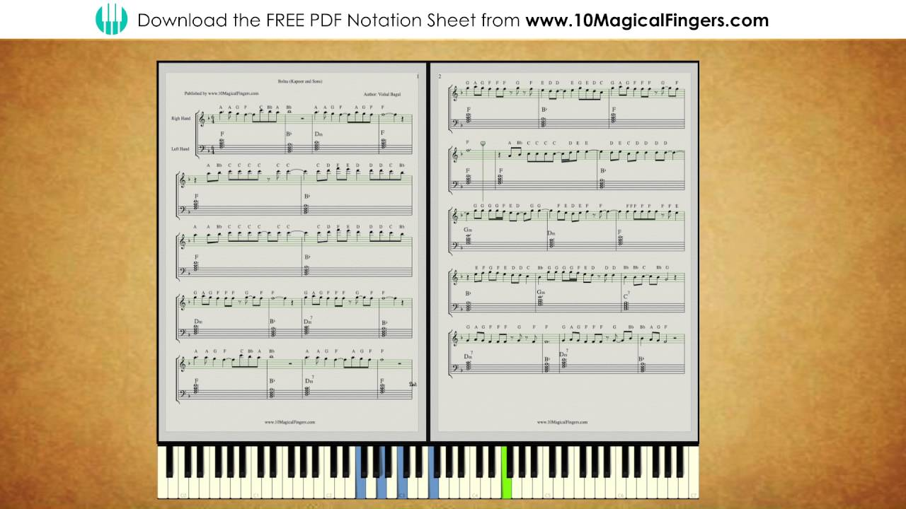 Bolna (Kapoor and Sons) Piano Staff Notation with ABC Notes and Chords |  www 10MagicalFingers com