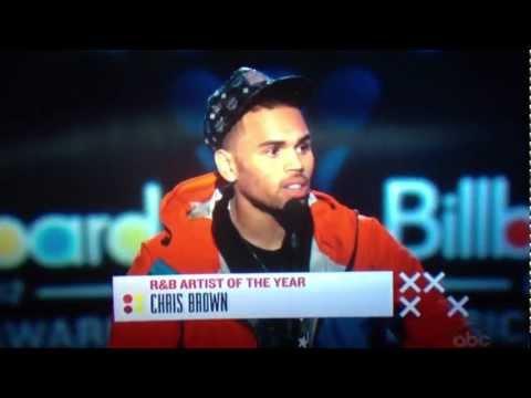 Chris Brown accepting Billboard music award!