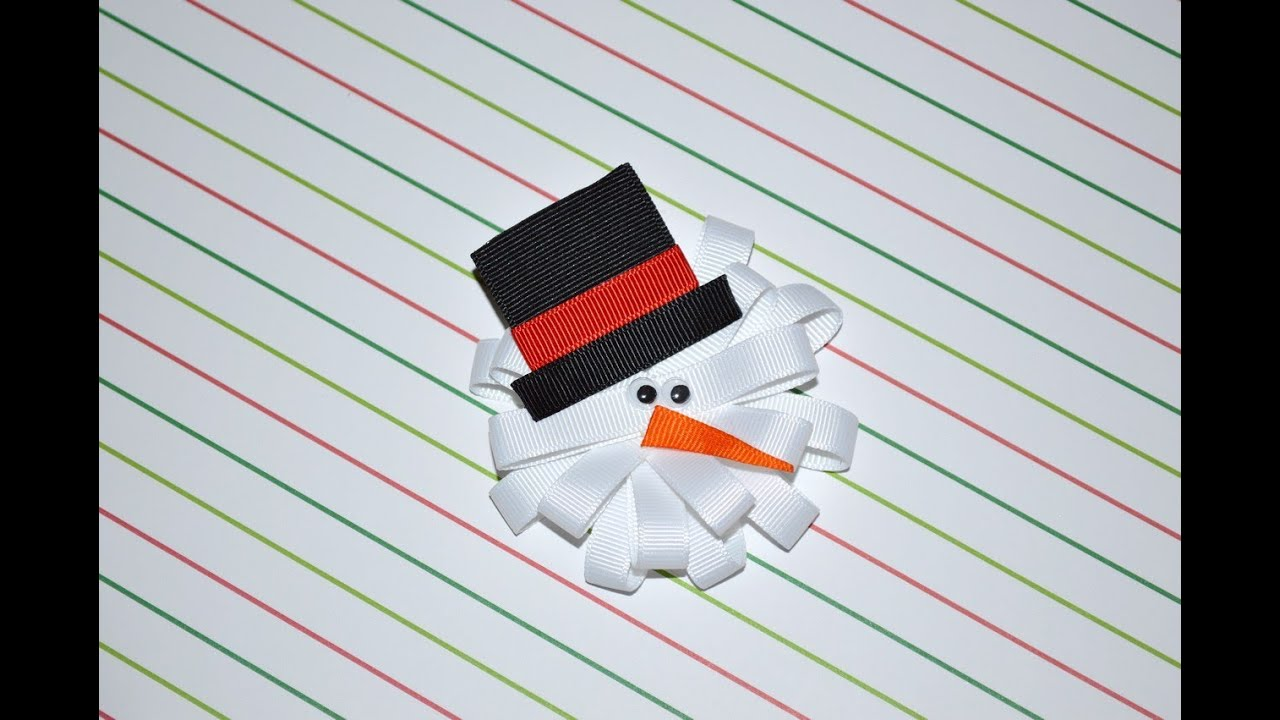 Snowman Loopy Ribbon Sculpture Christmas Holiday Winter