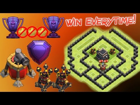 TH6 Trophy Base 2016 (Air Sweeper, 2 Air Defences) - Clash of clans