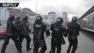 Water cannons & rubber bullets  Clashes break over transport price hikes in Colombia