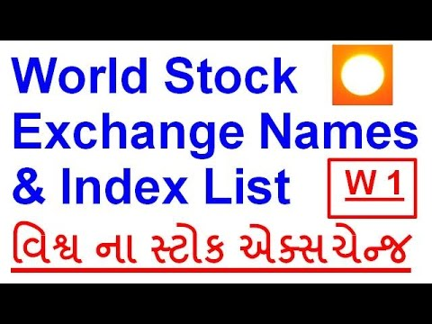 World Stock Exchange Names & Index List