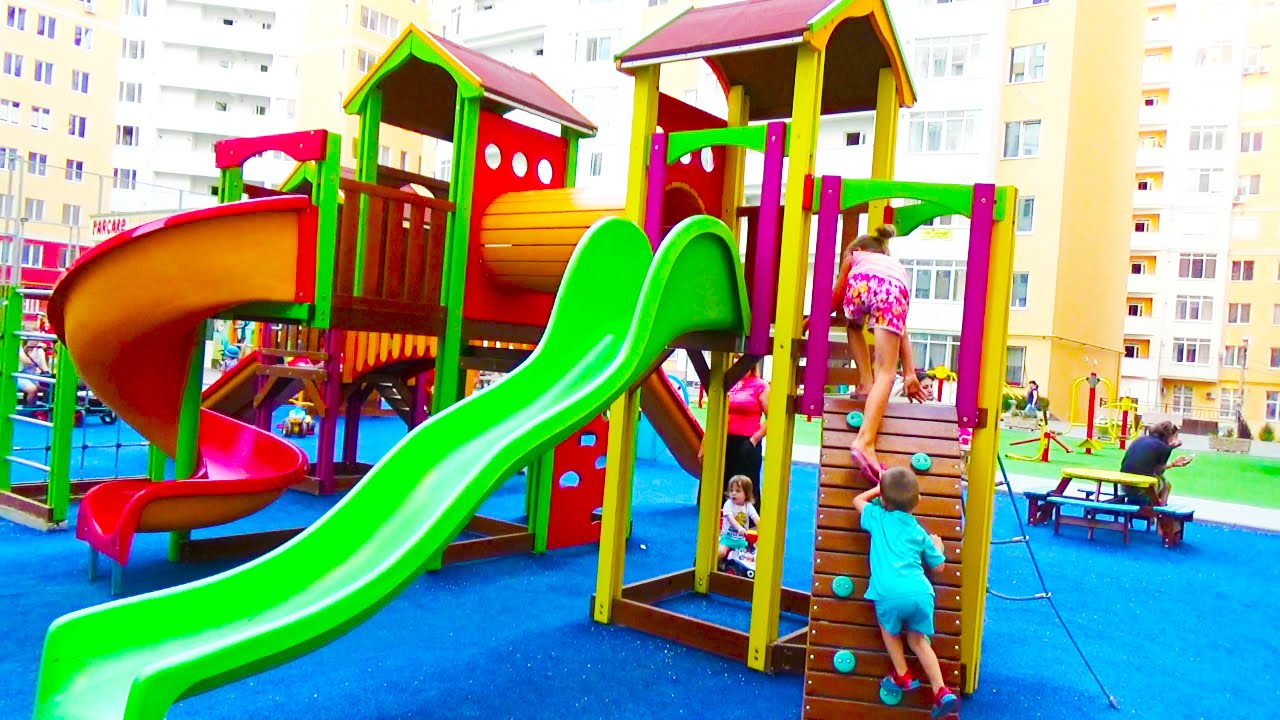 Outdoor Playground Fun Place For Kids To Play With Slides And Swings