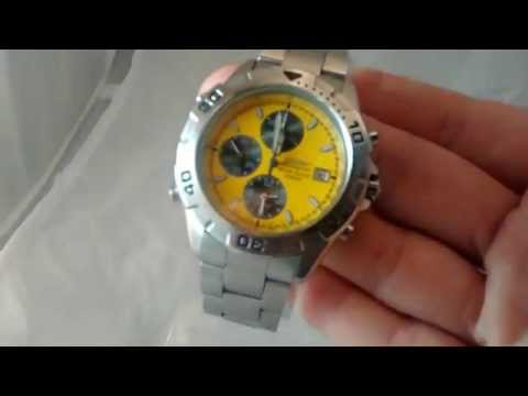 Seiko Watch 7T32 7F20 100m Driver Chronograph Watch Yellow Face