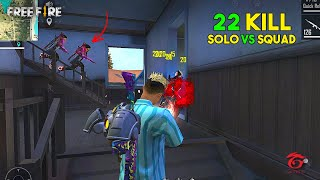 OMG! 22 Kill OverPower Solo vs Squad Must Watch Gameplay - Garena Free Fire