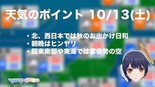 【天気のポイントと天気】2018.10.13(土)