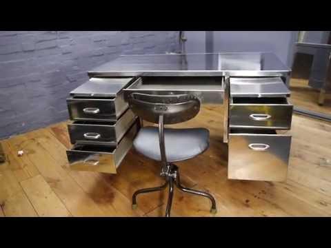 Art Metal London Vintage Industrial Stripped Polished Desk & Tansad Chair