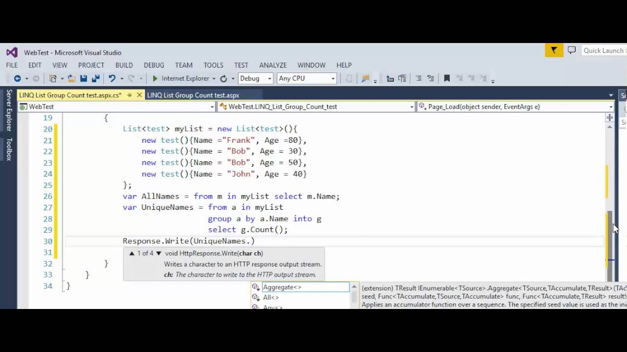 C# - LINQ to List - Group and Count - YouTube