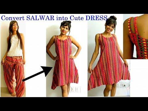 DIY: Convert/ Reuse/Recycle Old SALWAR into a Cute Summer DRESS Onlin in 10 Minutes/ DIY Dress