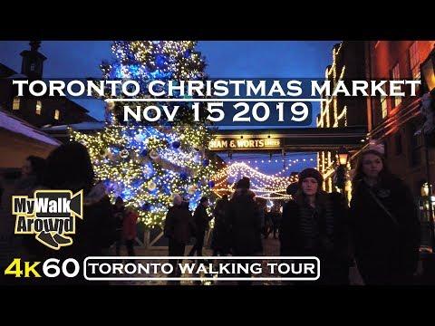 Toronto Christmas Market 2019 walking tour ( Toronto 4k Video)