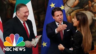 Mike Pompeo's Photo Op Interrupted By Italian Journalist Gifting Him Cheese | NBC News