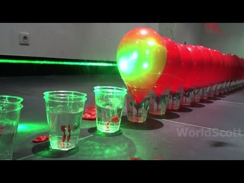 World Record Submission - 100 Laser Balloon Popping Dominoes - Wicked Lasers S3 Krypton 750mW+