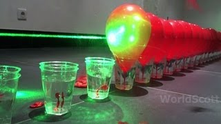 World Record Submission - 100 Laser Balloon Popping Dominoes - Wicked Lasers S3 Krypton 750mW+ IMG *