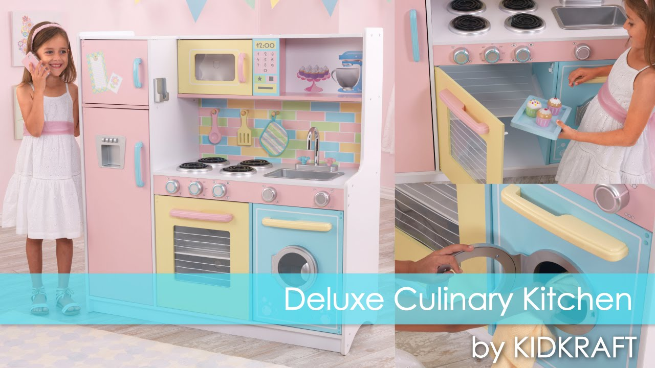 Childrens Play Kitchens Drop In Stainless Steel Kitchen Sink Children S Deluxe Culinary Toy Review Youtube