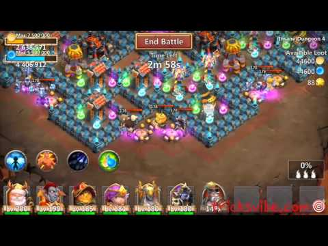 Castle Clash Insane Dungeon 4-10 Without Mino,sm(f2p Heroes Only)