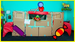 BOX FORT CHALLENGE Pretend Play Food Cardboard Store