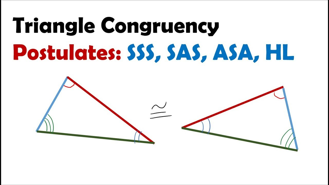 Triangle Congruence Postulates Sss Sas Asa Hl Aas Youtube