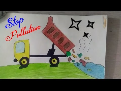 STOP WATER POLLUTION, SAVE EARTH Coloring Drawing for kids || Save Water, Save Life, Save Nature ||