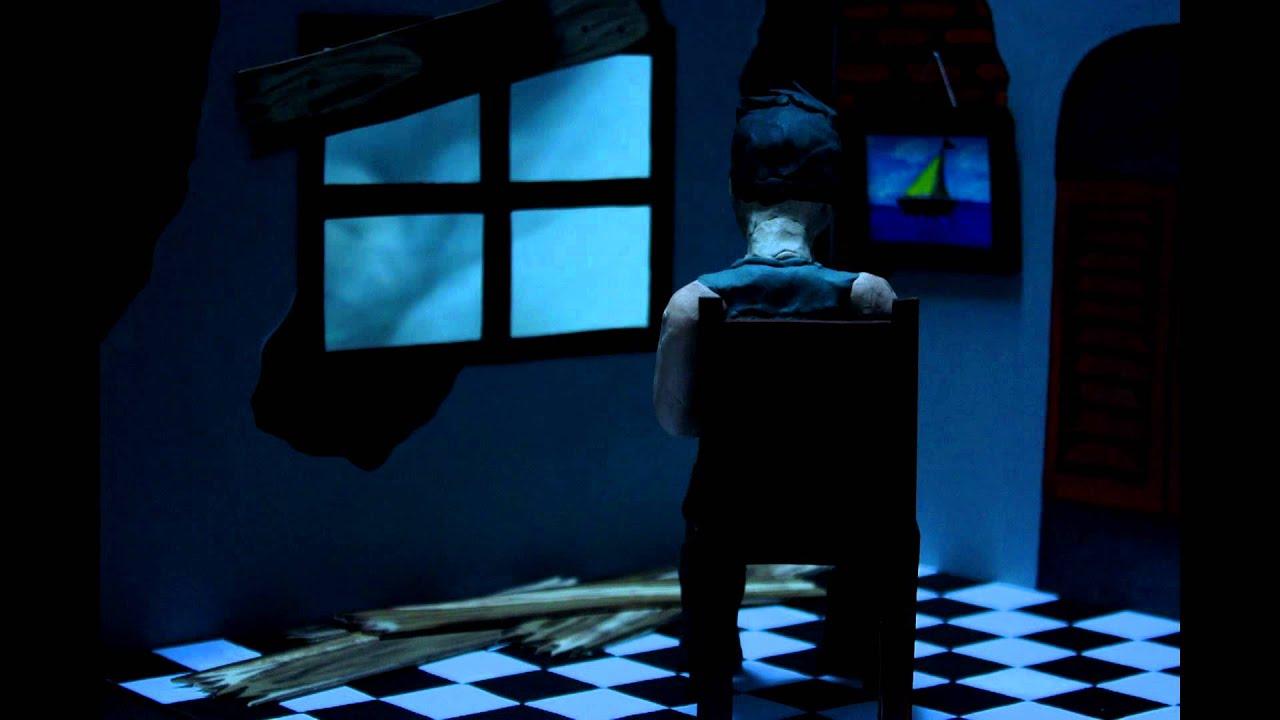 el último hombre sobre la tierra estaba sentado solo en una habitación. de repente tocan a la puerta