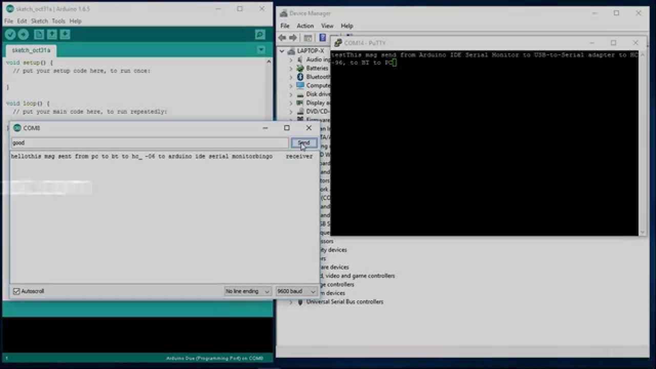 PC (Windows 10) Bluetooth connect to HC-06, loopback to PC via USB