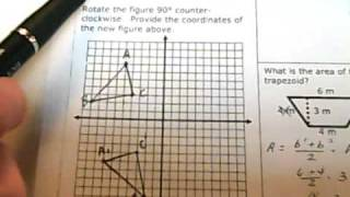 Homework 90 - Graph and Label the Points Below. 90 Degree Rotation