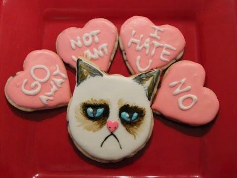 Grumpy Cat Valentines Day Cookies   QNB