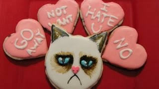Grumpy Cat Valentines Day Cookies - Qnb