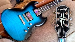 UNBOXING AND PLAYING MY NEW GUITAR! EPIPHONE PROPHECY SG! [BLUE TIGER AGED GLOSS!]