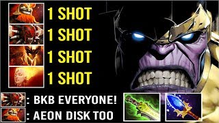 1 SHOT KILL THANOS MID vs FULL BKB + AEON DISK Team Crazy Def Comeback by rime 7.22 Dota 2