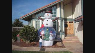 Giant 12 Foot Inflatable Snowman Snowglobe By Gemmy