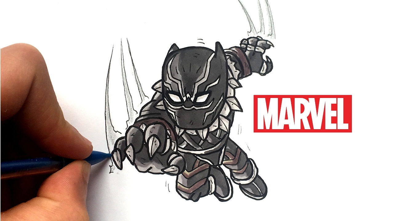 draw black panther chibi