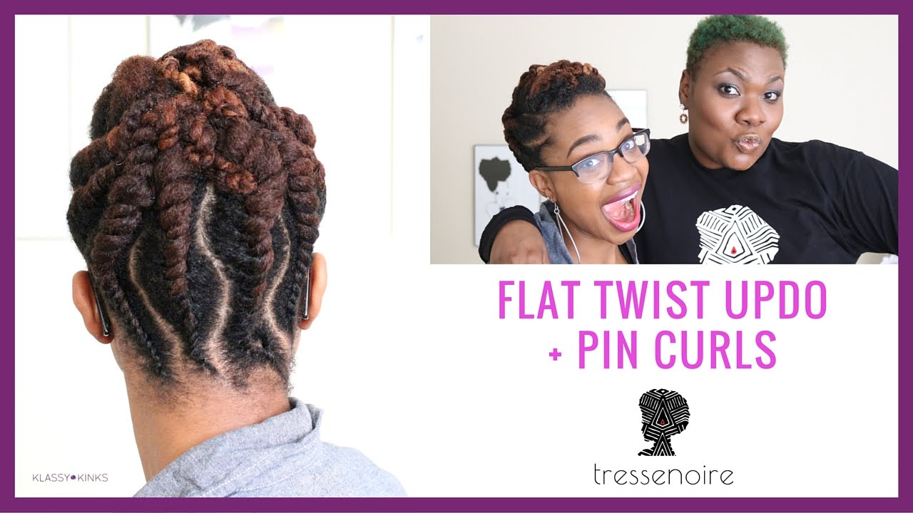 Flat Twist Updo + Pin Curls   TresseNoire At-Home Hair Styling - YouTube