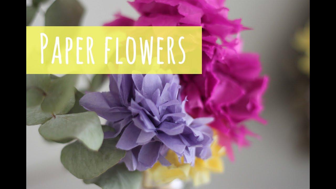 Make Paper Flowers Tissue Paper Pom Pom Flower Tutorial Youtube
