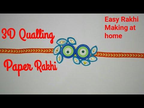 #3Dquallingrakhi#3Dquallingpaperideas Beautiful Quilling Paper Rakhi Making, Flowers qualling rakhi.