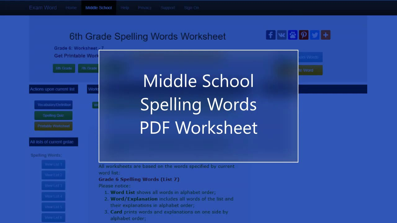 small resolution of 6th Grade Vocabulary and Spelling Words   K12 English Language Arts
