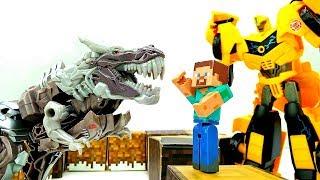 Секреты игры Майнкрафт - Стив и Бамблби ловят Динобота Трансформера!