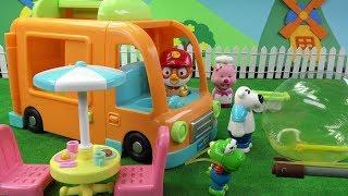뽀로로마을에서 뽀로로 푸드트럭 요리사 되다~ 포비는 칼라풍선을? 근데 크롱에게는 무슨일이? ❤ 뽀로로 장난감 애니 ❤ Pororo Toy Video | 토이컴 Toycom