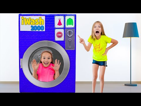 Magical toy washing machine with Amelia, Avelina and Akim