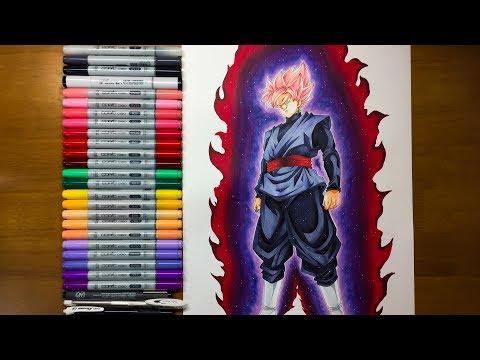 ゴクウブラック 超サイヤ人ロゼ 描いてみた/Drawing Goku Black Super Saiyan Rose