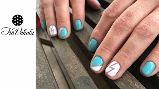 Mint & Lightning gelish Nail Art - Мята и Молния Дизайн ногтей