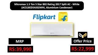Micromax 1.5 Ton 5 Star BEE Rating 2017 Split AC - White  (ACS18ED5AS02WHI, Aluminium Condenser)