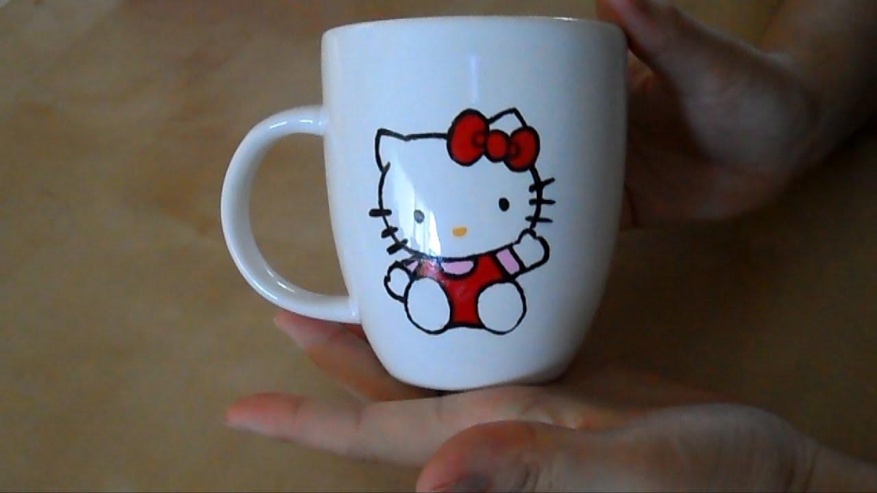 Diy mug painting 3 hello kitty youtube for How to paint a mug