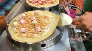 วิธีการทำเครปช็อคโกแลต : How to make Chocolate Crepe -Thai Food Bangkok