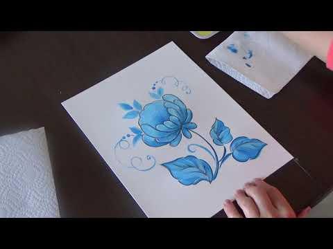 Учимся рисовать гжельскую розу!