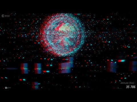 Space debris - a journey to Earth (3D stereoscopic)