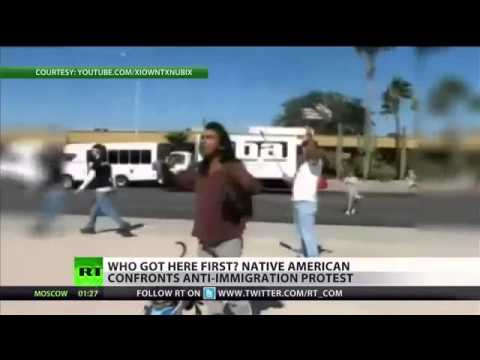 World News Taday   Native American confronts  anti illegal immigration  protest