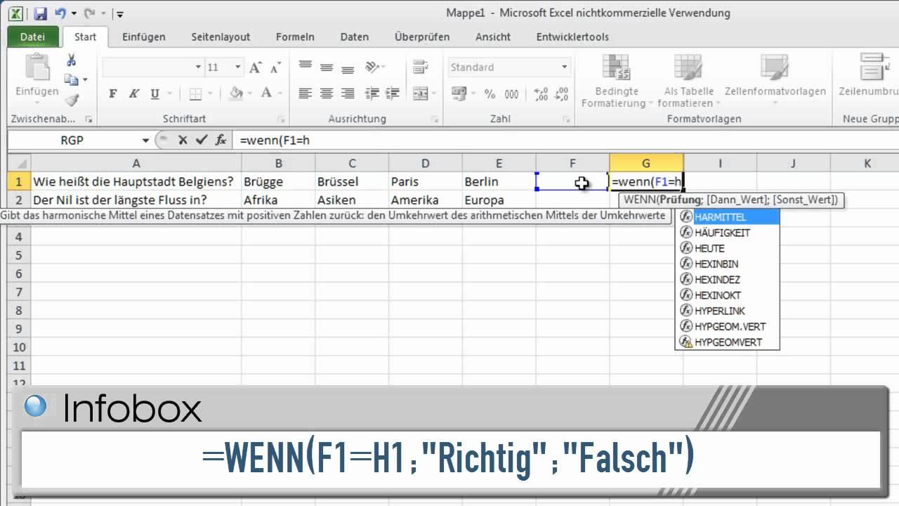 Excel 2010  Mit Excel Ein Multiple Choice